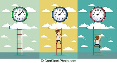 Businessman and time set with adult office worker trying to catch wall clock