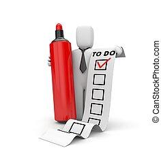 Businessman and TO DO list. Checklist metaphor. 3d illustration