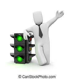 Businessman and traffic light