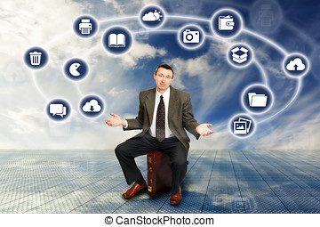 Businessman And Wireless Technology
