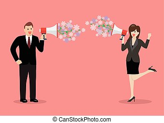 Businessman and woman are holding a megaphone with flowers