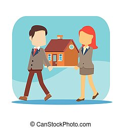 businessman and woman carrying house together