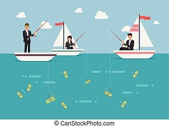 Businessman and woman fishing money