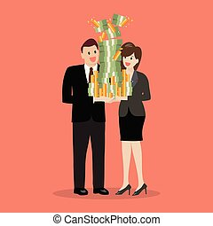 Businessman and woman holding a lot of money