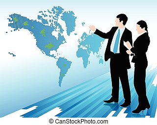 Businessman and woman looking at a digital world map -...
