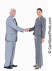 Businessman and woman shaking hands