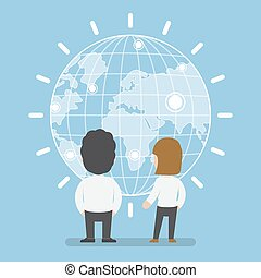 Businessman and woman standing in front of digital world