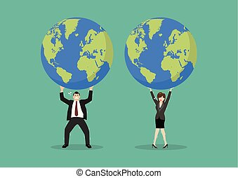 Businessman and woman struggling to carry globe