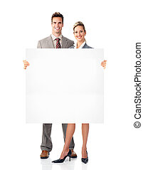 Businessman and woman with banner.