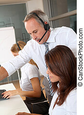 Businessman and women in business training