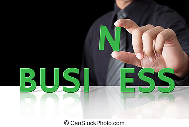 Businessman and word Business