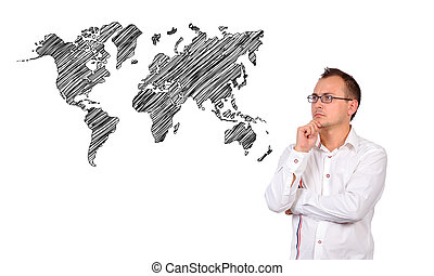 businessman and world map