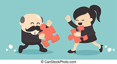 Businessman anf business woman holding two puzzles to connect on wooden