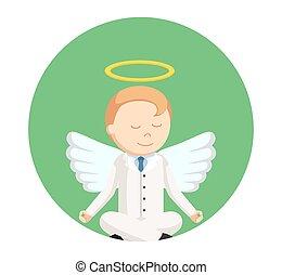 businessman angel meditating in circle background