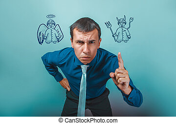 Businessman angry man shows his finger angel devil...