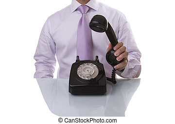 businessman answer a call