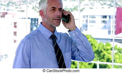 Businessman answering his phone and