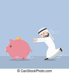businessman arabian chasing a piggy