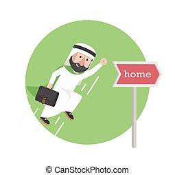 businessman arabian go to home illustration