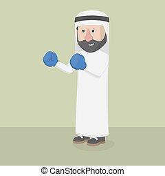 businessman arabian pose boxer
