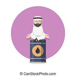 businessman arabian relaxation in oil tank