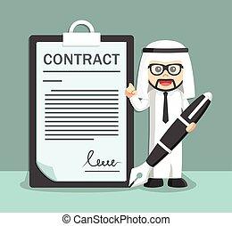 businessman arabian with a big pen