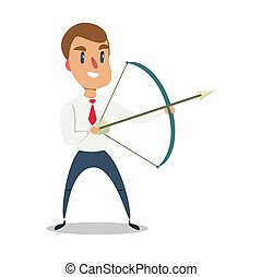 Businessman archer shoots at a target with arrow. Business concept the goal and success