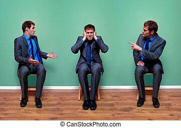 Businessman argument - Concept image of a businessman having...