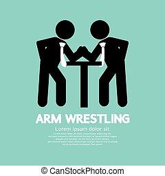 Businessman Arm Wrestling Symbol