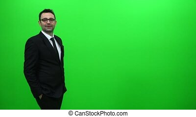 Businessman Arrived on Green Screen