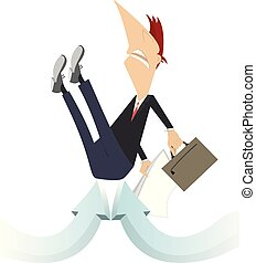 Businessman with bag and papers is picked up by arrow signs concept illustration