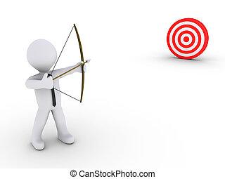 Businessman as an archer aiming at a target - 3d businessman...