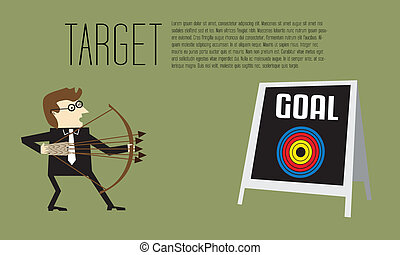 Businessman as an archer is aiming