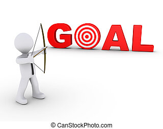3d businessman as an archer is aiming at a red goal target