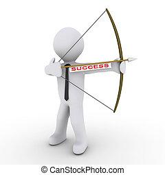 Businessman as archer using arrow with success tag - 3d...