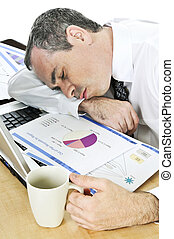 Businessman asleep at his desk on white background - Tired...
