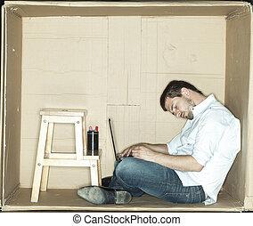 Businessman asleep at work with fatigue
