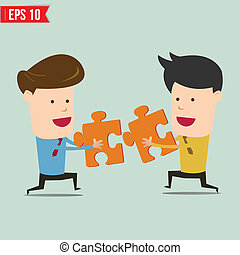 Businessman assembling jigsaw puzzle and represent team...