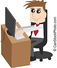 Businessman at a computer