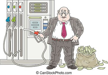 Petrol station, a fat greedy manager with a fuel nozzle and profit from sale of gasoline, vector cartoon illustration isolated on a white background