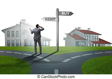 Businessman at crossroads betweem buying and renting
