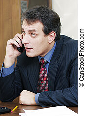 Businessman at desk talking on phone