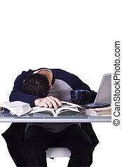 Businessman at His Desk Sleeping
