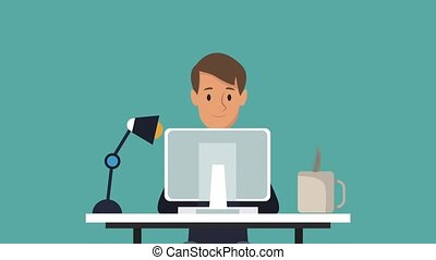 Businessman at office cartoon HD animation