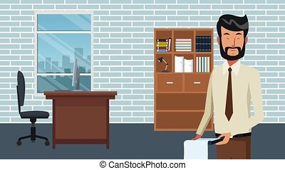 Businessman at office HD animation