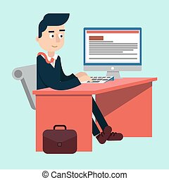 Businessman at Office on the Work Table with Computer