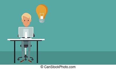 Businessman at office with idea cartoon HD animation