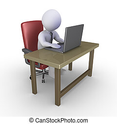 Businessman at office with laptop - Businessman sitting on a...