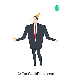 Businessman at party. Celebratory cap and Party horn. ballon and alcohol. Manager drunk