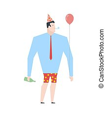 Businessman at party. Celebratory cap and Party horn. balloon and alcohol. Manager drunk